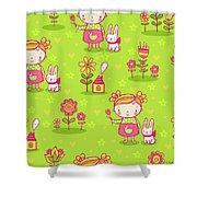 Little Girl With Her Rabbit On A Green Field Shower Curtain