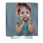 Little Girl With Purse Shower Curtain