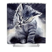 Little Grey Cat Shower Curtain