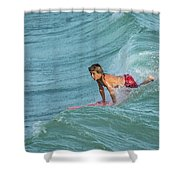 Little Guy Big Wave Shower Curtain