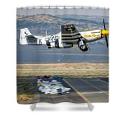 P51 Mustang Little Horse Gear Coming Up Friday At Reno Air Races 5x7 Aspect Signature Edition Shower Curtain