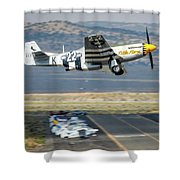 P51 Mustang Little Horse Gear Coming Up Friday At Reno Air Races 5x7 Aspect Shower Curtain