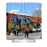 Little India In Jersey City-white Tiger Mural Shower Curtain