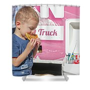 Little Kid With Food Shower Curtain