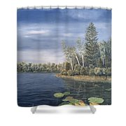 Little Lake In The Woods  Shower Curtain