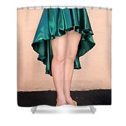 Ameynra Fashion Satin High Low Skirt, Dark-green Shower Curtain