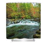 Little Pigeon River Flows In Autumn In The Smoky Mountains Shower Curtain