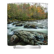 Little Pigeon River In Autumn In Smoky Mountains In Autumn Shower Curtain