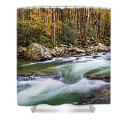 Little Pigeon River In Fall In The Smokies Shower Curtain