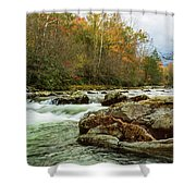Little Pigeon River In The Greenbrier Section Of Smoky Mountains Shower Curtain