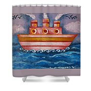 Little Pink Ship Shower Curtain