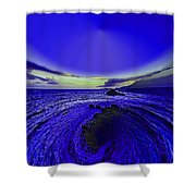 Little Planet Blue Shower Curtain