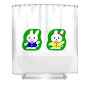 Little Rabbit Boy And Rabbit Girl Shower Curtain