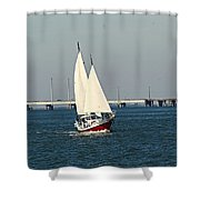 Little Red Boat Shower Curtain
