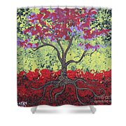 Little Red Tree Shower Curtain
