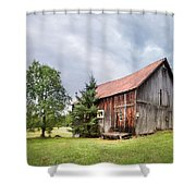 Little Rustic Barn, Adirondacks Shower Curtain by Gary Heller
