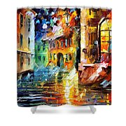 Little Street - Palette Knife Oil Painting On Canvas By Leonid Afremov Shower Curtain