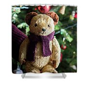 Little Sweet Teddy Bear With Knitted Scarf Under The Christmas Tree Shower Curtain