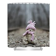 Little Teddy Bear Sitting In Knitted Scarf And Cap In The Winter Forest Between The Rails Shower Curtain
