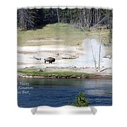 Live Dream Own Yellowstone Park Bison Text Shower Curtain