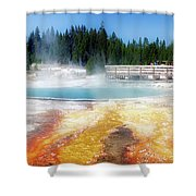 Live Dream Own Yellowstone Park Black Pool Text Shower Curtain