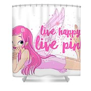 Live Happy Test Shower Curtain