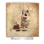 Live Music Pinup Singer Performing On Gig Guide Shower Curtain