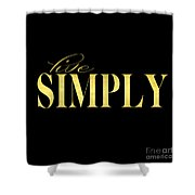 Live Simply Black Gold Shower Curtain