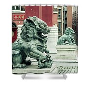 Liverpool Chinatown - Chinese Lion D Shower Curtain