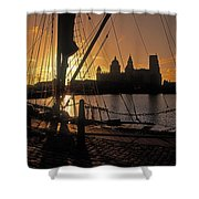 Liverpool, England View From Albert Dock Shower Curtain