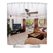 Living Room At Christmas Shower Curtain