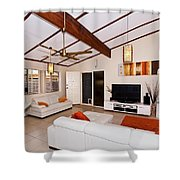 Living Room With Sloping Ceiling Shower Curtain