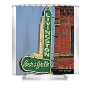 Livingston Bar And Grill Old Neon Sign Montana Shower Curtain
