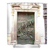 Ljubljana Bronze Church Door Shower Curtain