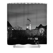 Ljubljana Castle In Black And White Shower Curtain