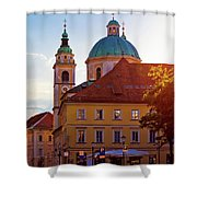 Ljubljana Church And Square Sunset View Shower Curtain