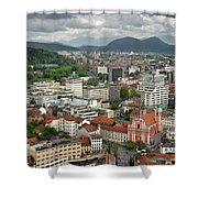 Ljubljana Slovenia With Karawanks, Kamnik Savinja, Limestone Alp Shower Curtain