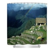 Llama And Rainbow At Machu Picchu Shower Curtain