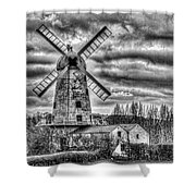 Llancayo Mill Usk 3 Mono Shower Curtain