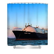 Lng Carrier Grand Aniva At Sunset On The Roads Of The Port Of Nakhodka.  Shower Curtain