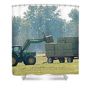 Loading Hay At Dusk Shower Curtain