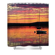 Loan Boat On A River At Sunset Shower Curtain