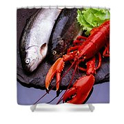 Lobster And Trout Shower Curtain