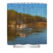 Lobster Boat Boothbay Harbor Shower Curtain