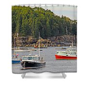 Lobster Boats In Bar Harbor Shower Curtain by Jack Schultz