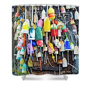 Lobster Buoys And Nets - Maine Shower Curtain