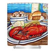 Lobster Dinner Shower Curtain by Patricia L Davidson