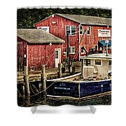 Lobster Market In Boothbay Harbor Shower Curtain