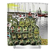 Lobster Pots Kilmore Quay, Wexford, Ireland, Poster Effect 1a Shower Curtain