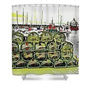 Lobster Pots Kilmore Quay, Wexford, Ireland Poster Effect 1b Shower Curtain